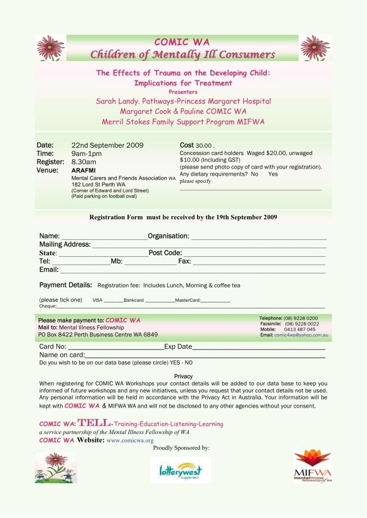 Registration form for for this excellent Workshop